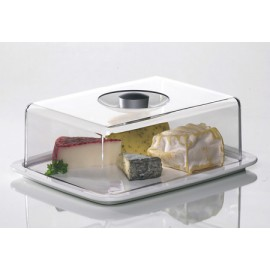 Plateau à fromages planche en porcelaine et cloche acrylique