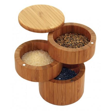 Boite à sel / épices 3 niveaux en bambou