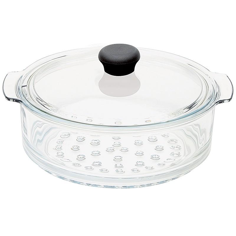 cuit vapeur en verre 20 cm avec couvercle cristel la carpe. Black Bedroom Furniture Sets. Home Design Ideas