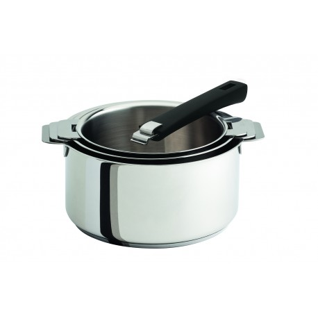 Coffret 3 casseroles amovibles Classic en inox et poignée noire Mutine Cristel